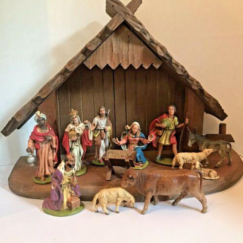Nativity Creche Manger & 12 Figures Germany Christmas