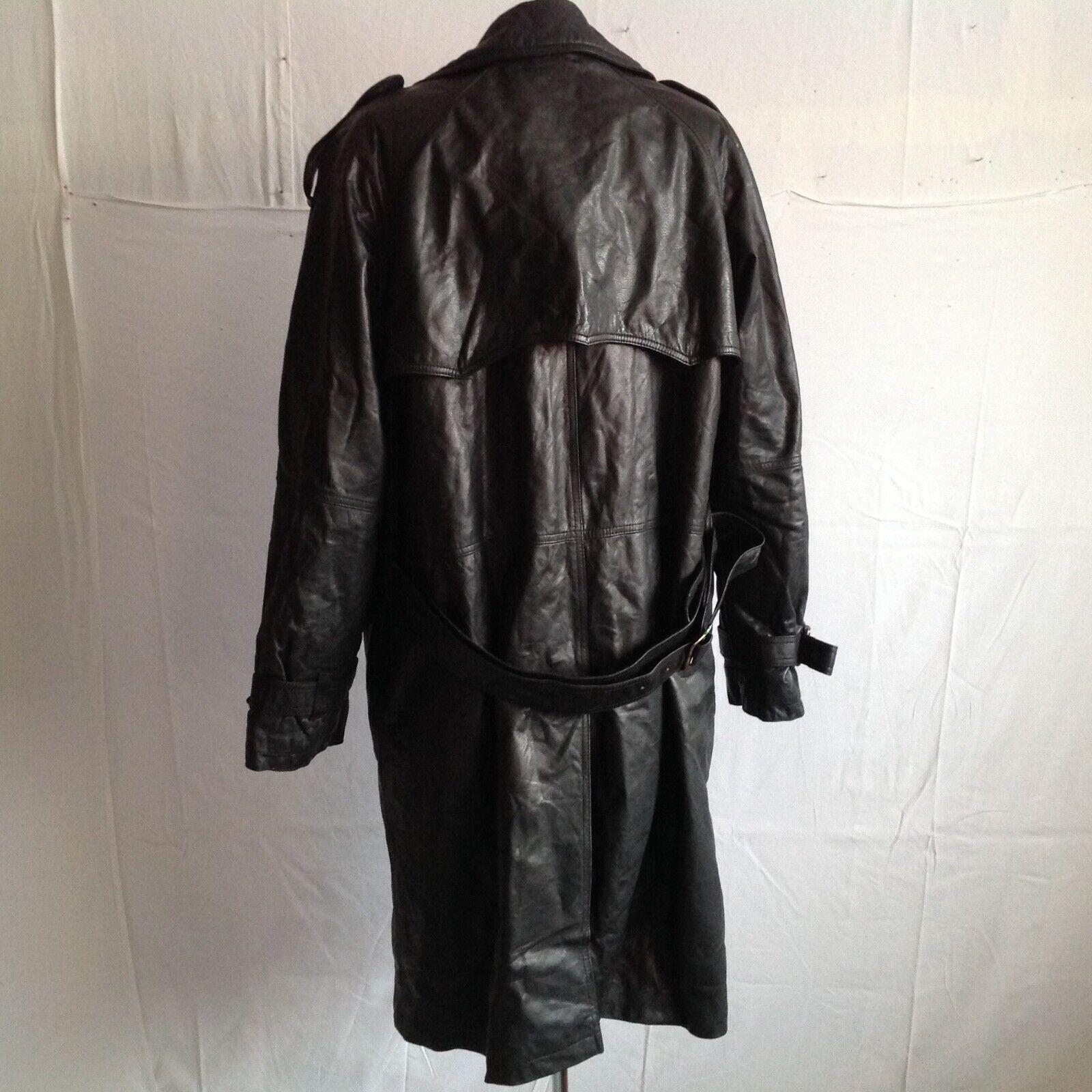 3b _  trench / manteau femme _ en cuir_ noir _t48 ( mf01/01/02-20p )