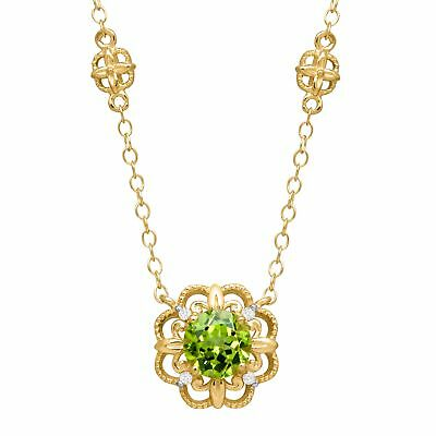 - 1 ct Peridot Rosette Necklace with Diamonds in 14K Yellow Gold