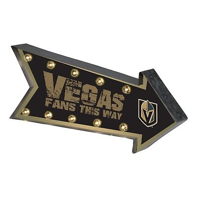 Las Vegas Golden Knights Arrow Marquee Sign - Light Up - Room Bar Decor NEW 18
