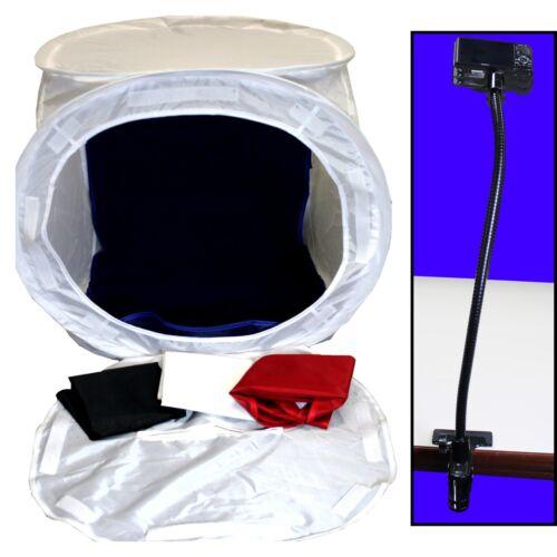 "Photo Studio 24"" Light Box Cube Kit w/ Clamping 20"" Gooseneck Camera Mount"
