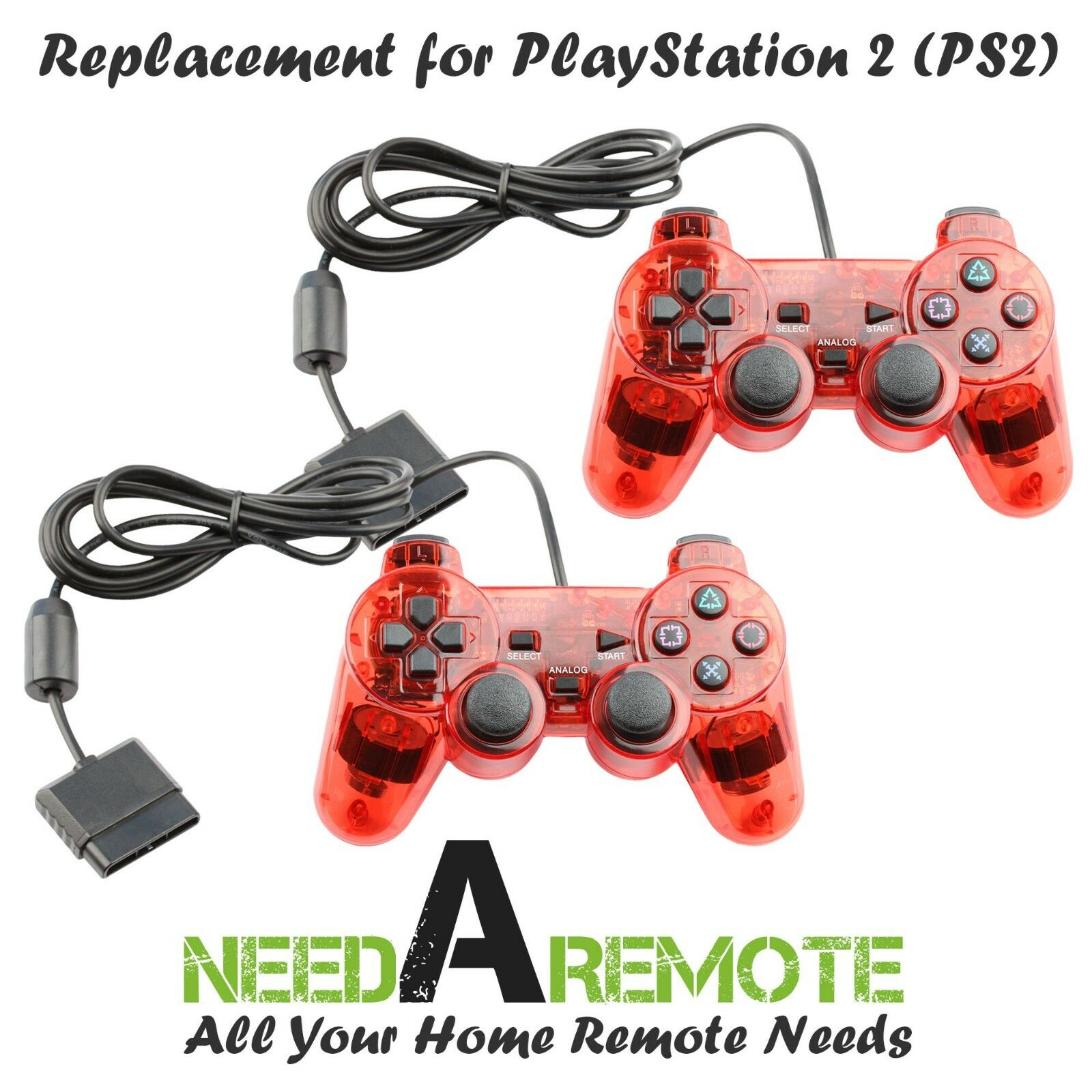 2X Red Twin Shock Game Controller Joypad Pad for Sony PS2 Playstation 2