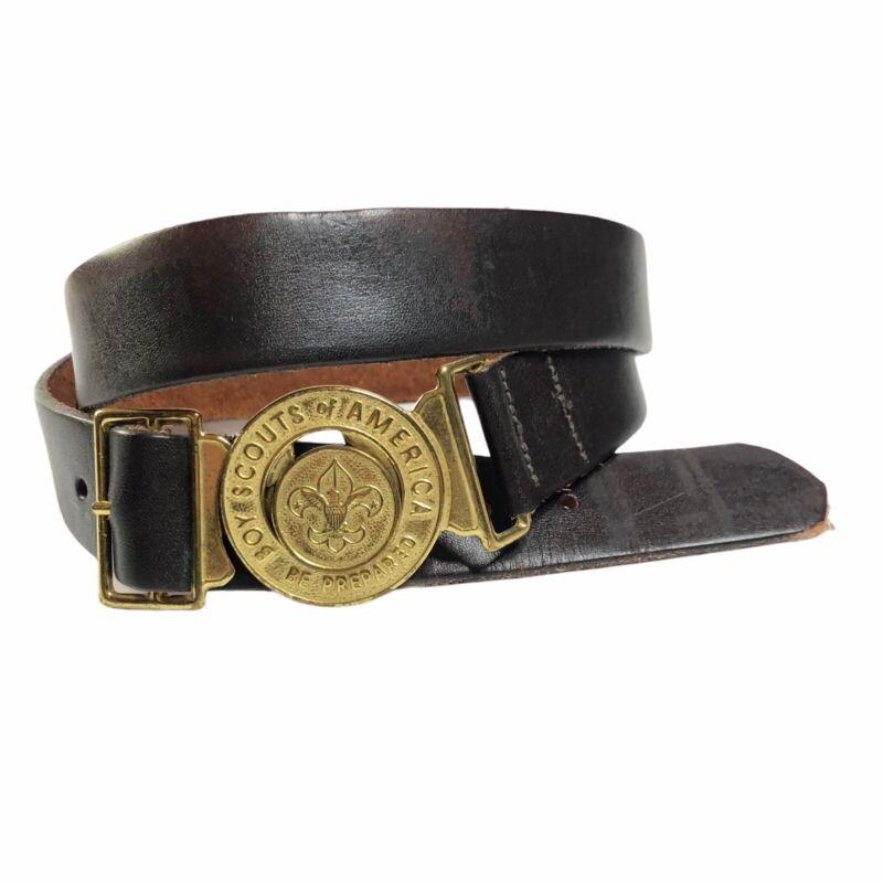 Vintage Dark Brown Leather Boy Scout Belt Round Lock Buckle Size 46 Uniform