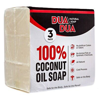 Dua Dua Organic Coconut  Oil Soap Bar 100% Organic (3 Pack) 3 oz per bar. - Organic Coconut Oil Bar Soap