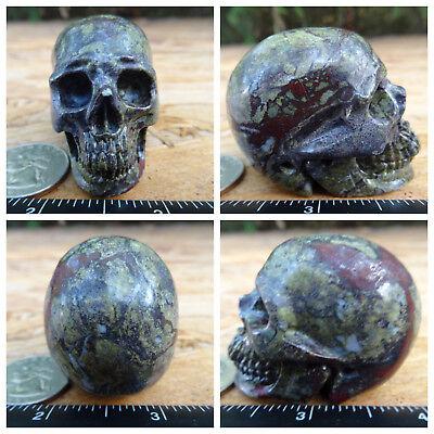 "1.98"" Dragon Blood Jasper Skull Carved Stone 110.3g 3.9oz Crystal Healing"