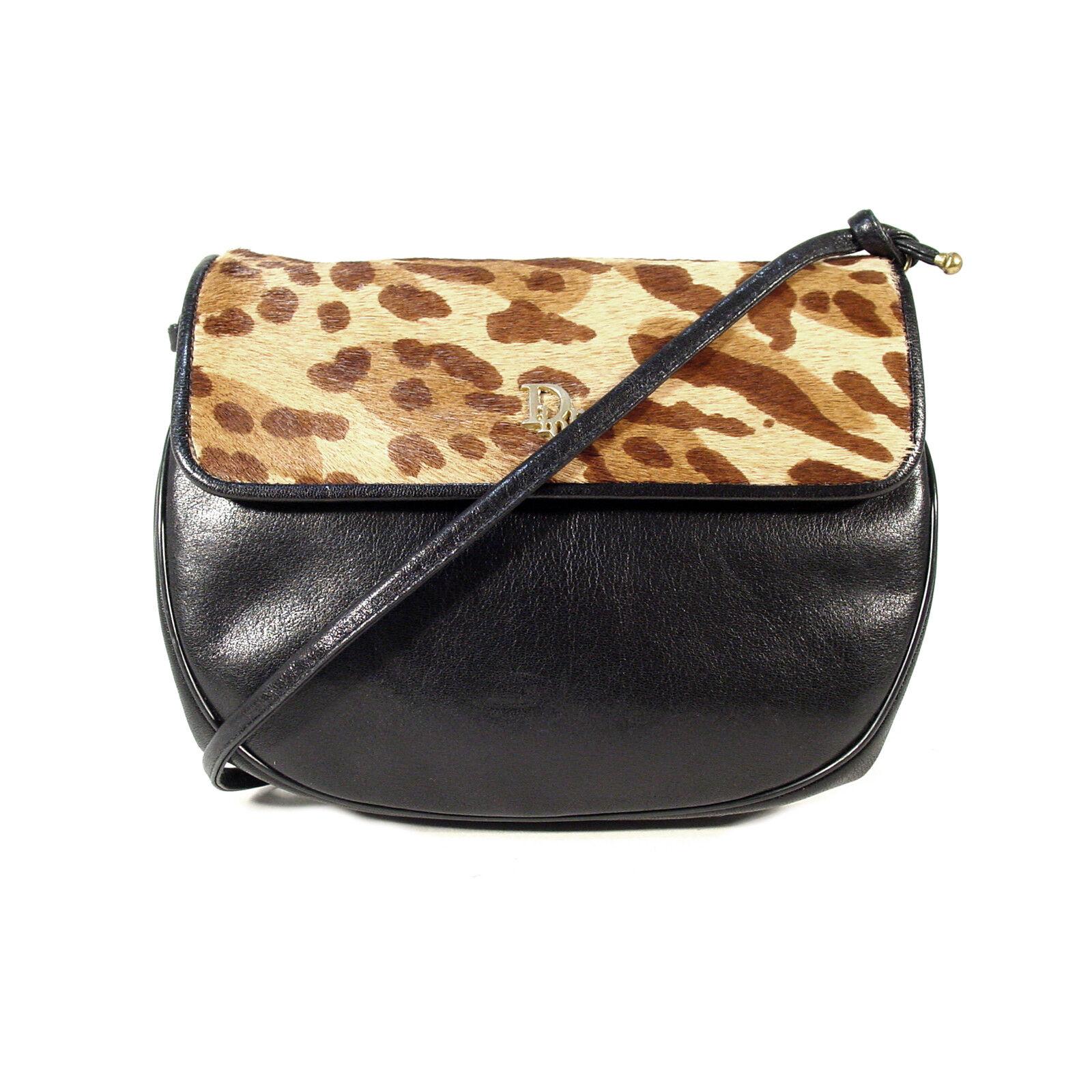 4ccf94c032c4 Details about DIOR Authentic Vintage Leopard Print Calf Hair Flap Small Crossbody  Handbag