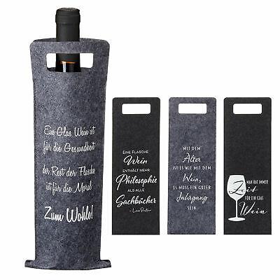 4x Flaschentasche mit Wein Spruch Sekt Champagner Geschenkverpackung Geschenk