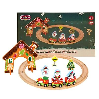 Christmas Wooden Train Set Toys for 2 Year Old boy and up