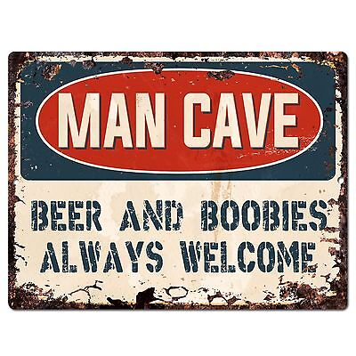 PP2635 MAN CAVE BEER ALWAYS WELCOME Chic Sign Home Store Decor Funny (Mens Gift Store)