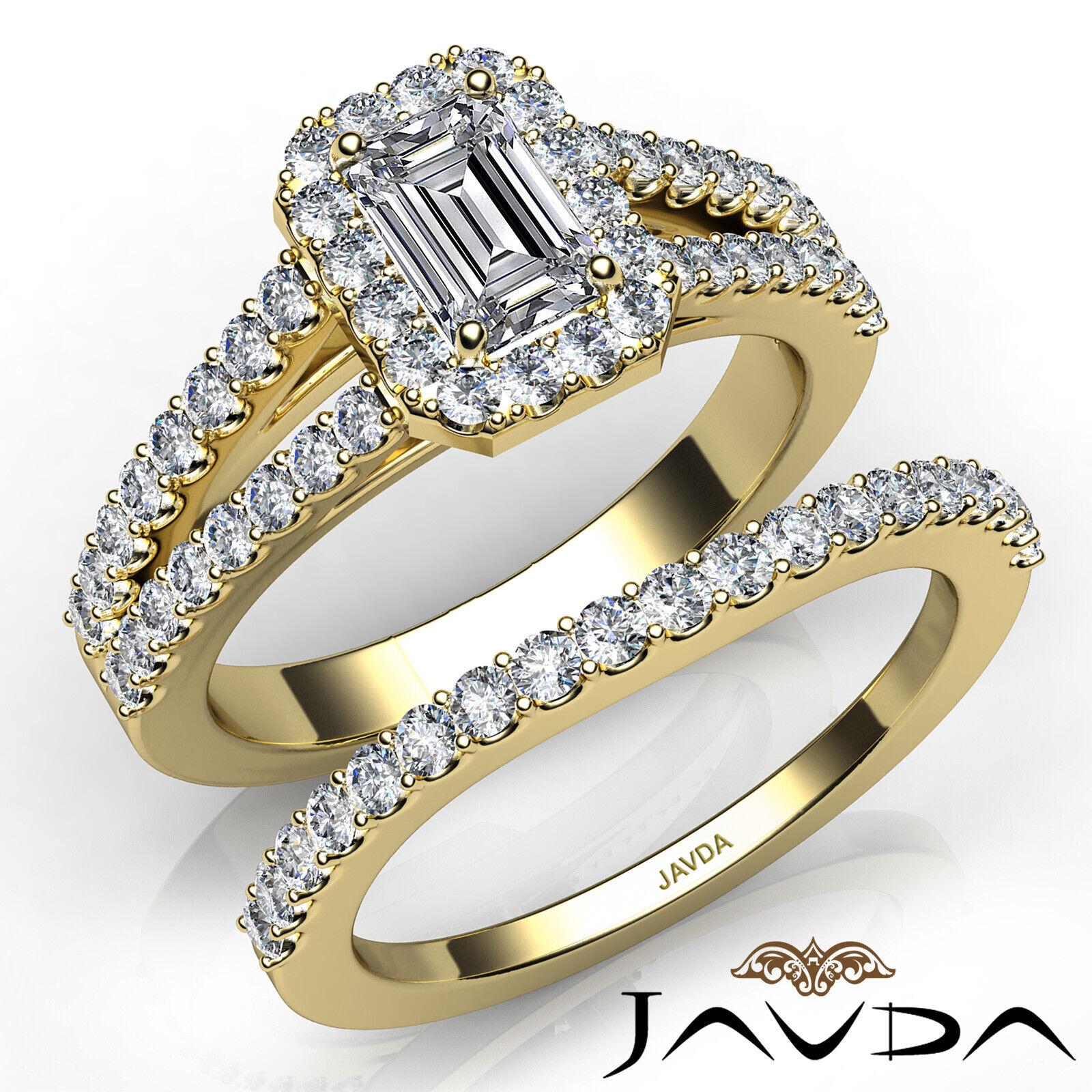 1.75ctw Halo Sidestone Bridal Emerald Diamond Engagement Ring GIA H-VS2 W Gold 8