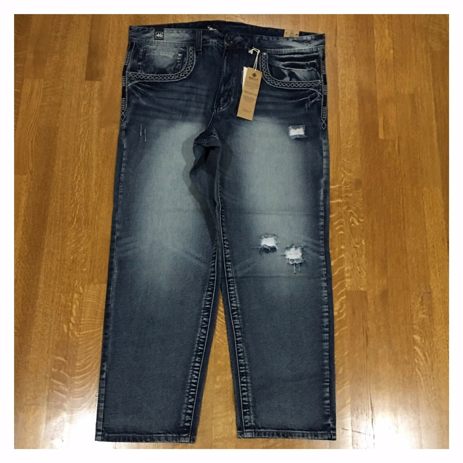 e549a57b730 New Big and Tall Mens Size 46 Fashion Denim Moto Rips Acid Bleached Jeans  Pants 아이템 넘버  112472476676.