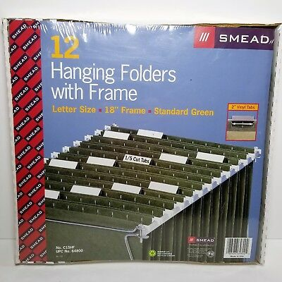 Smead Hanging File Folders With 18 Metal Frame Letter Size 12 Green Folders