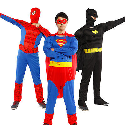 Super Man Outfit (Mens Muscle Chest Superman Batman Spiderman Man Of Steel Fancy Dress Outfit)