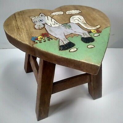 Vintage Oak Heart Child Stool