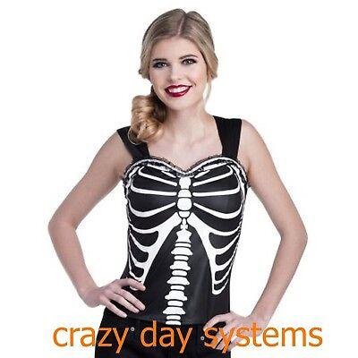 Skeleton Top Flirty Top Bustier Corset Costume 4/6, 8/10 Halloween Cosplay Women