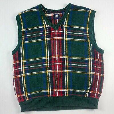 Plaid Sweater Vest (Vintage Men's Gap Tartan Plaid Sweater Vest L Large Warm VTG)
