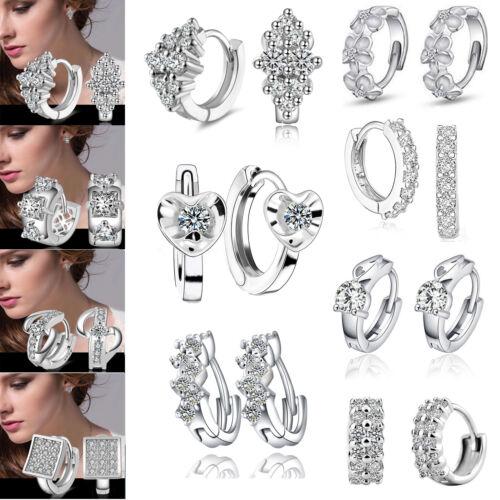 Earrings - Fashion Women's Crystal 925 Silver Plated Ear Stud Hoop Earrings Jewelry Gifts