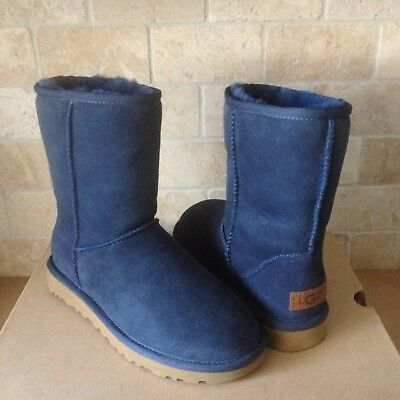 UGG Classic Short II Navy Blue Water-resistant Suede Boots Size US 7 (Bluewater Boots)