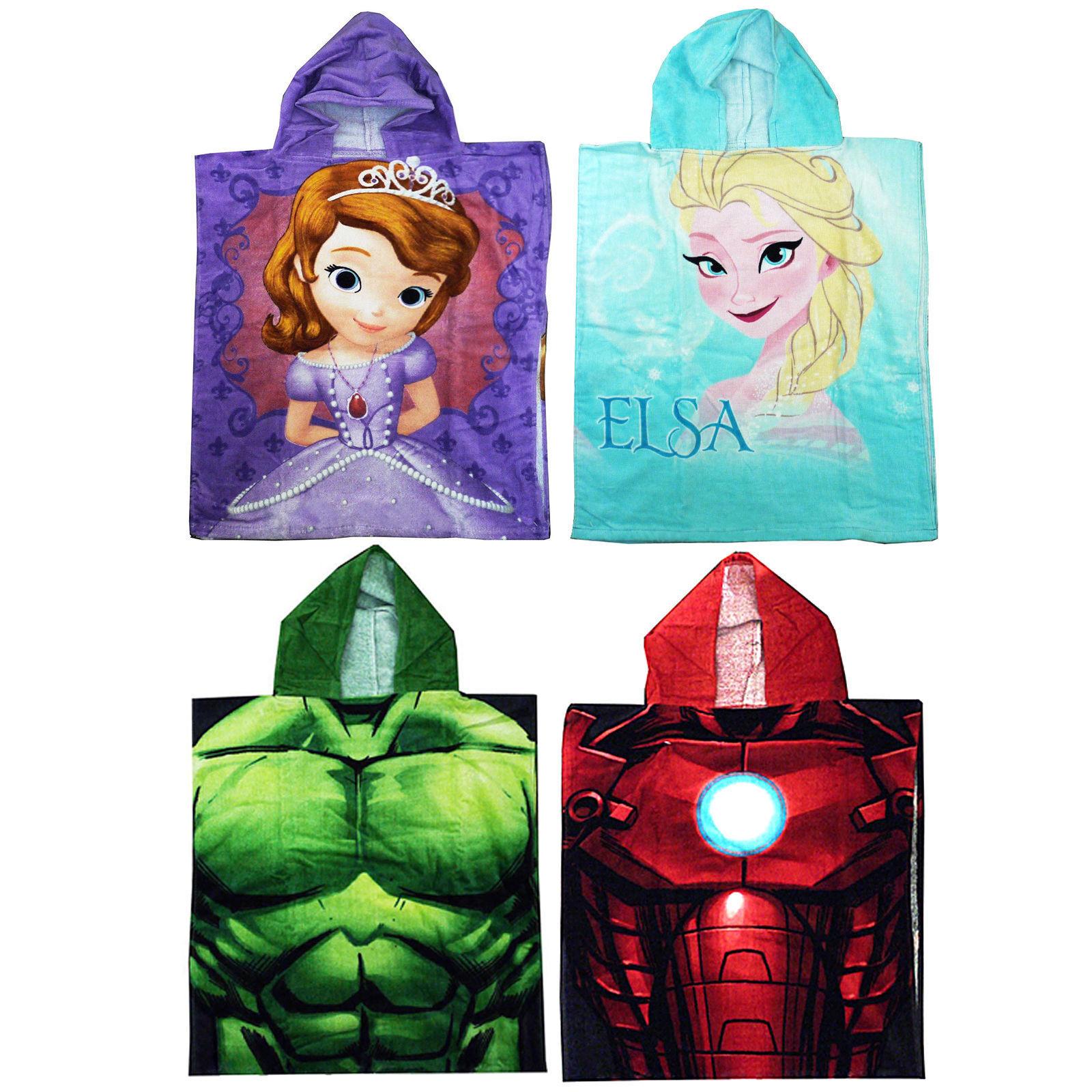 Character Hooded Bath Beach Swimming Towel Poncho Kids Boys Girls Marvel Cartoon