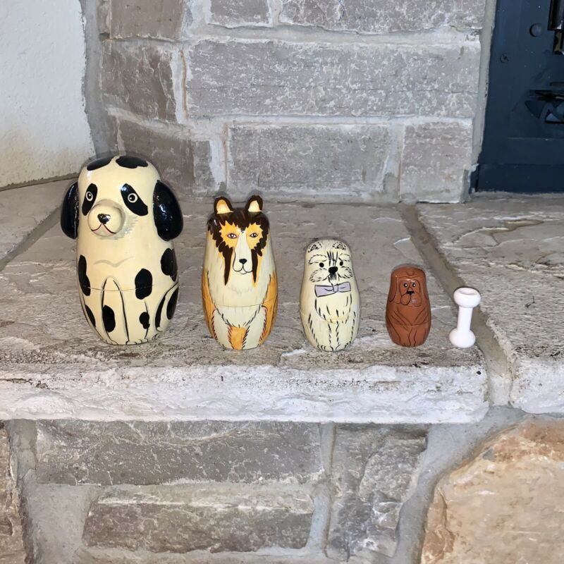 Wooden Hand Painted Dogs + Bone 5-Piece Russian Nesting Dolls Vintage