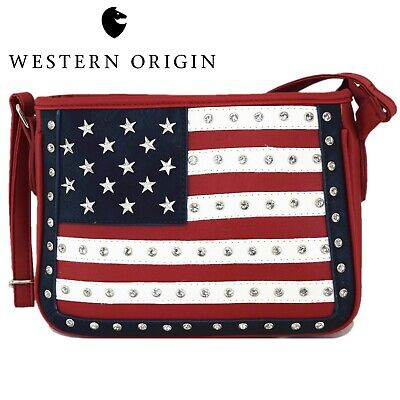 American Flag Stars and Stripes Crossbody Handbag Women Purse Studs Shoulder -