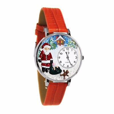 Whimsical Watches Unisex U1220009 Christmas Santa Claus Red Leather Watch