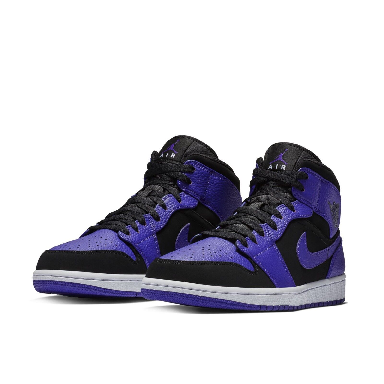 sports shoes 42360 7f89d Details about Nike Mens Air Jordan 1 Mid Black Concord Purple Shoes  Sneakers AJ1 554724-051