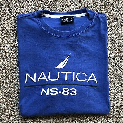 Nautica T-shirt Size M Logo Spell Out Graphic Tee Blue NS-83 Sailboat