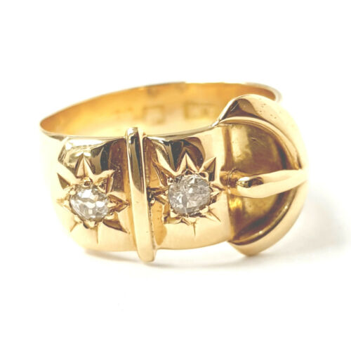 Diamond Buckle Ring 18CT YELLOW GOLD 6.3g Size K 0.10ct Old Cut Diamonds 11.2mm