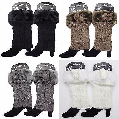 Women's Faux Fur Plush Leg Warmers Cable Knit Winter Warm Boot Cuff Socks Topper (Faux Fur Boot Cuffs)