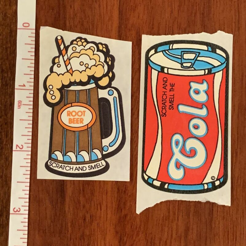 Vintage//Classic Set of 4 Mello Smello Scratch /& Sniff Stickers Root Beer