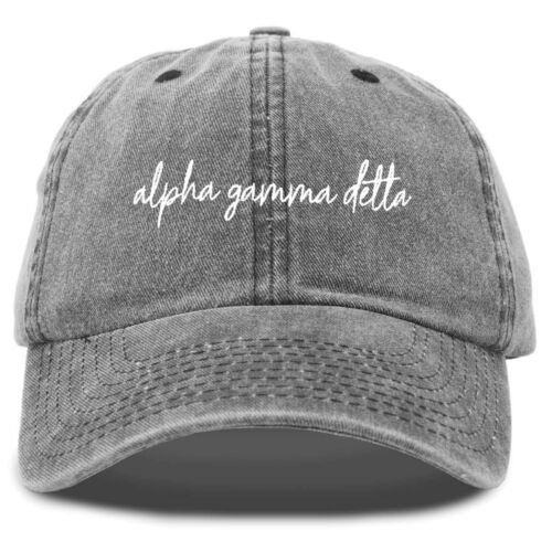 Alpha Gamma Delta Cursive Sorority Womens Baseball Hat in Washed Black
