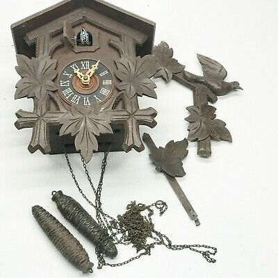 VINTAGE / ANTIQUE CUCKOO CLOCK WITH WEIGHTS STRIKING BLACK FOREST WOOD