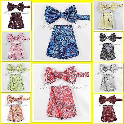 Paisley Design Pre-tied Bow tie and Pocket Square Hankie Set Prom Wedding (Design Bow Tie Set)