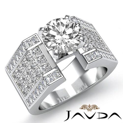 Pave Invisible Round Diamond Engagement Ring GIA F VVS2 14k White Gold 3.62ct