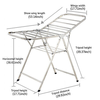 4 Tier Foldable Clothes Airer Drying Rack Extra Large Clothes Drying Rail~ UK