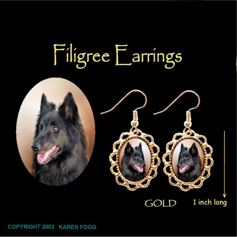 BELGIAN SHEEPDOG - GOLD  FILIGREE EARRINGS Jewelry
