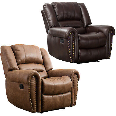 Leather Recliner Chair Contemporary Home Theater Seating Single Sofa Cup Holders