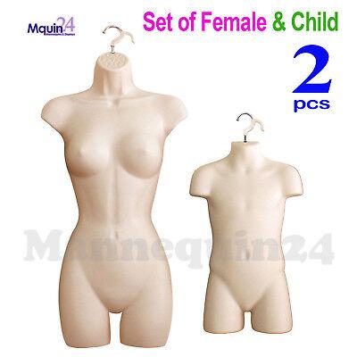 Female Child Torso Mannequin Set 2 Hooks Flesh Women Kids Dress Body Forms