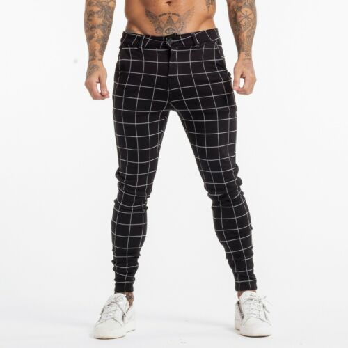 Gingtto Men Chinos Trousers Skinny Stretch Slim Fit Spandex Dress Plaid Pants