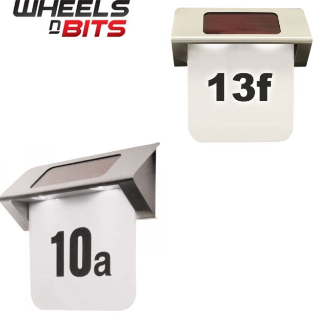 NEW LARGE SOLAR POWERED LED ILLUMINATED HOUSE DOOR NUMBER WALL LIGHT UP PLAQUE