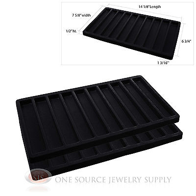 2 Insert Tray Liners Black  With 10 Slot Each Drawer Organizer Jewelry Displays