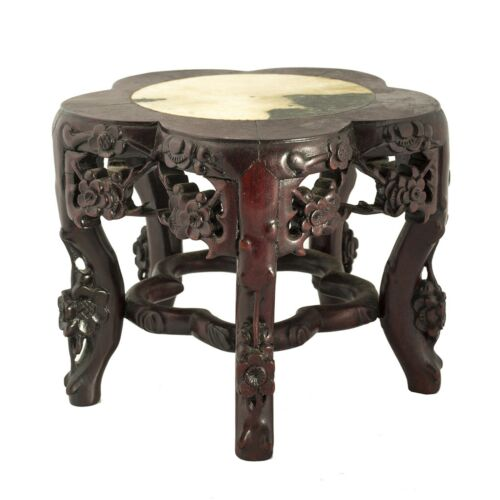 Chinese Marble Top Carved Rosewood Stand Or Table