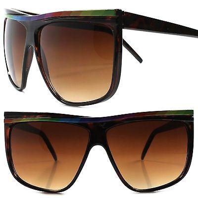 Rainbow Accents Retro 80s Fashion Hip Hop Tortoise Oversized Square Sunglasses