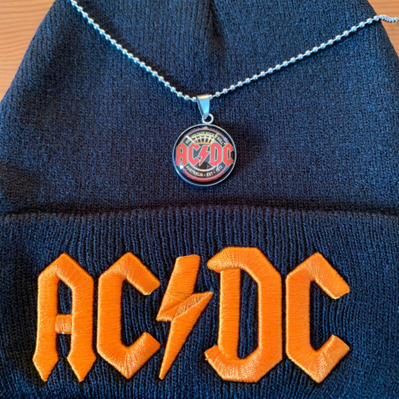 AC/DC ROCK BAND EMBROIDERY BEANIE ( Black & Red ) AND STAINLESS STELL NECKLACE