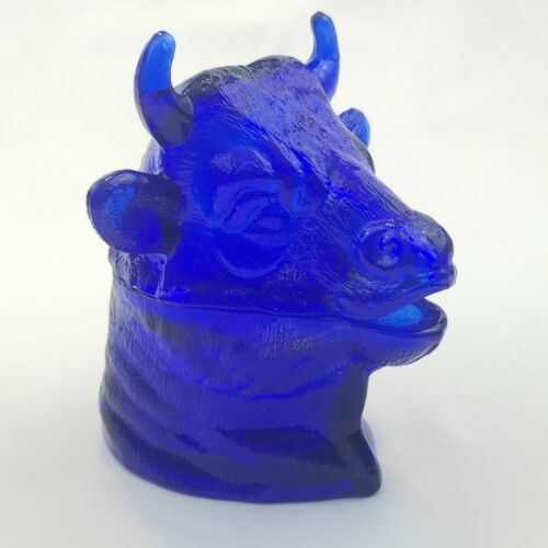 Vintage Ferdinand The Bull Cobalt Blue L.G. Wright Glass Mustard Jar Cow Dish