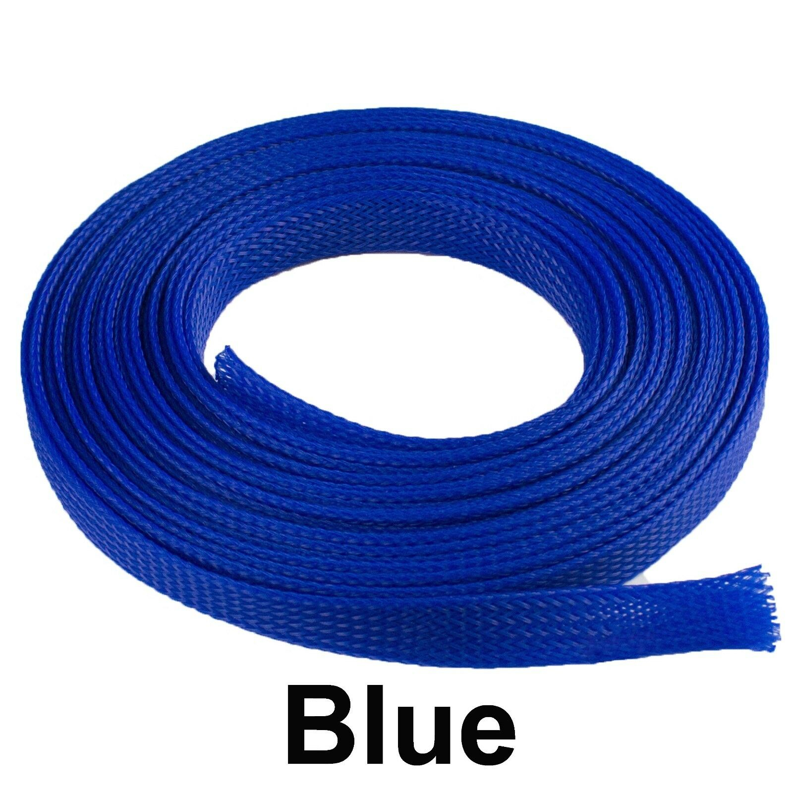 ALL SIZES & COLORS 5' FT - 100 Feet Expandable Cable Sleeving Braided Tubing LOT Blue