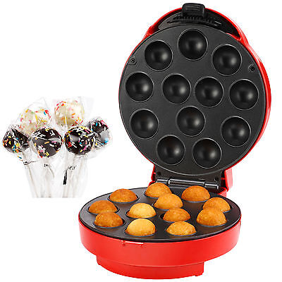 VonShef Cake Pop Maker 12 Hole Red, Free 2 Year Warranty Included