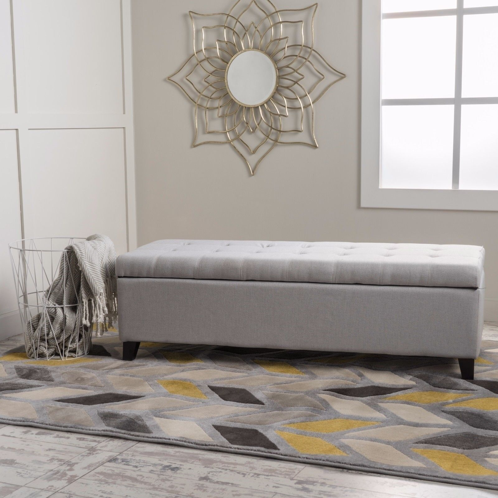 Sterling Fabric Tufted Storage Ottoman Furniture