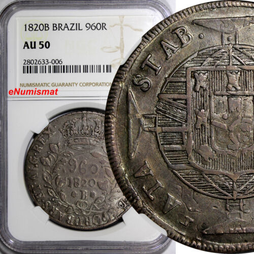 Brazil Joao VI Silver 1820 B BARS. ET.. 960 Reis NGC AU50  SCARCE KM# 326.2